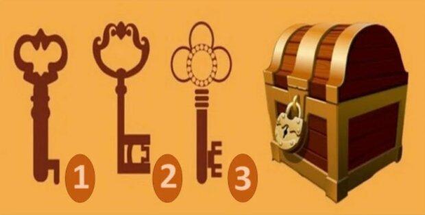 Který z navrhovaných klíčů byste použili k otevření teto truhly: pomůže najít správnou cestu