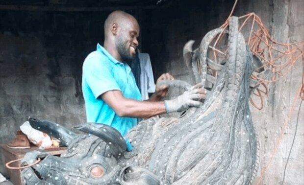 Talentovaný sochař vytvořil fascinující sochy, které pomáhají likvidovat odpady
