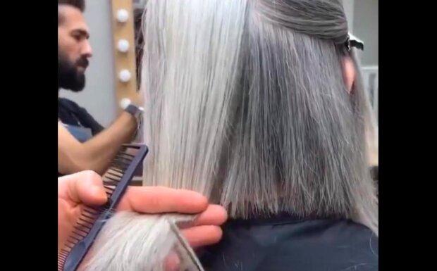 Talentovaný stylista změnil šedovlasou klientku v mladou krásku