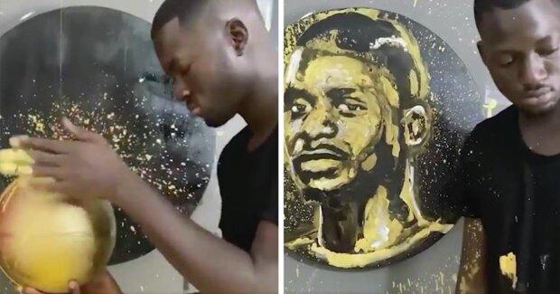 Umělec maluje portréty pomocí unikátní techniky a vysoušeče vlasů