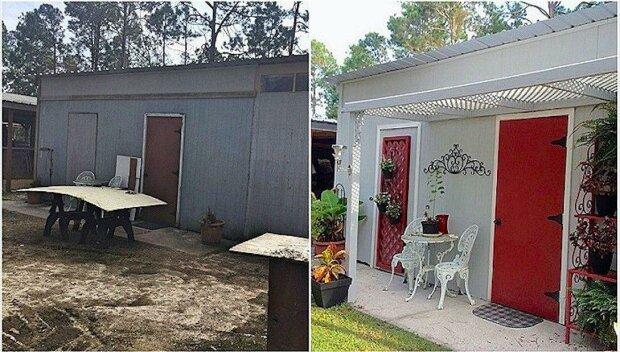 Manželé udělali z opuštěné barabizny příměstskou chatičku jen za pět set dolarů